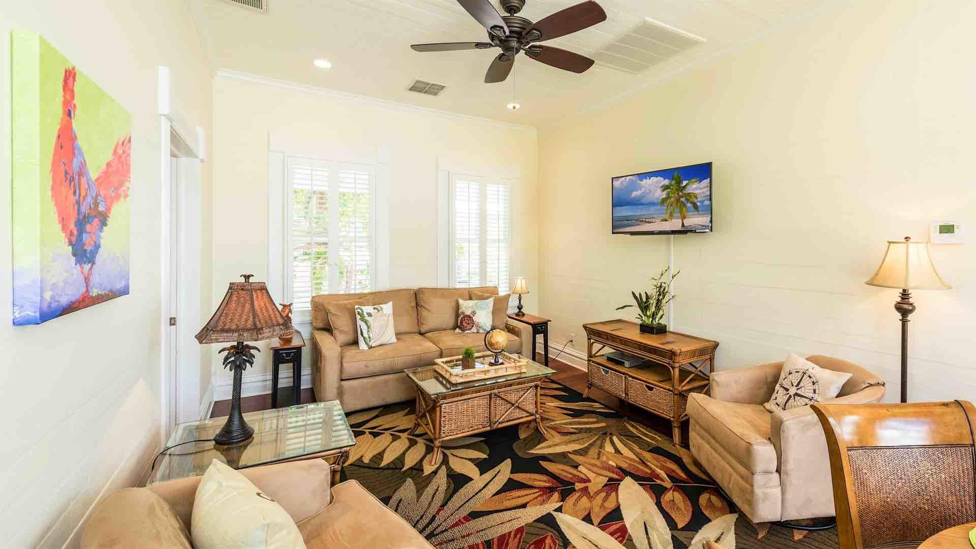 The upstairs condo has three bedrooms and two bathrooms...