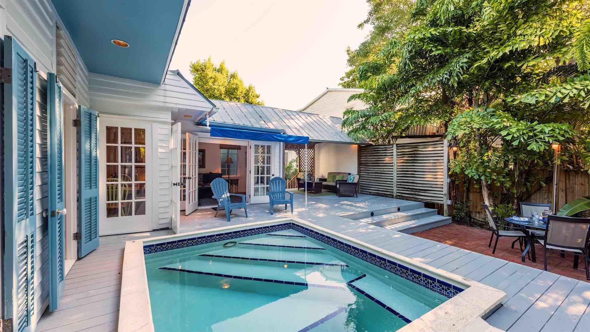 Pet Friendly vacation home in Key West with 3 bedrooms and heated pool rents monthly