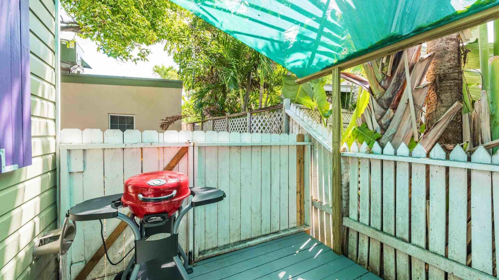 The cozy back porch is covered, with an electric grill...