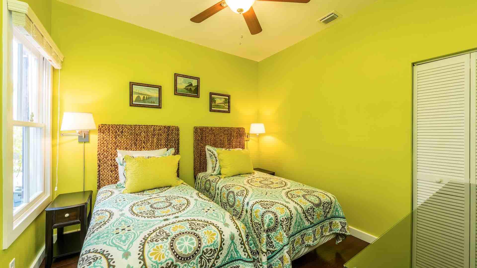 The guest bedroom has two twin beds that can convert to a King bed upon request...