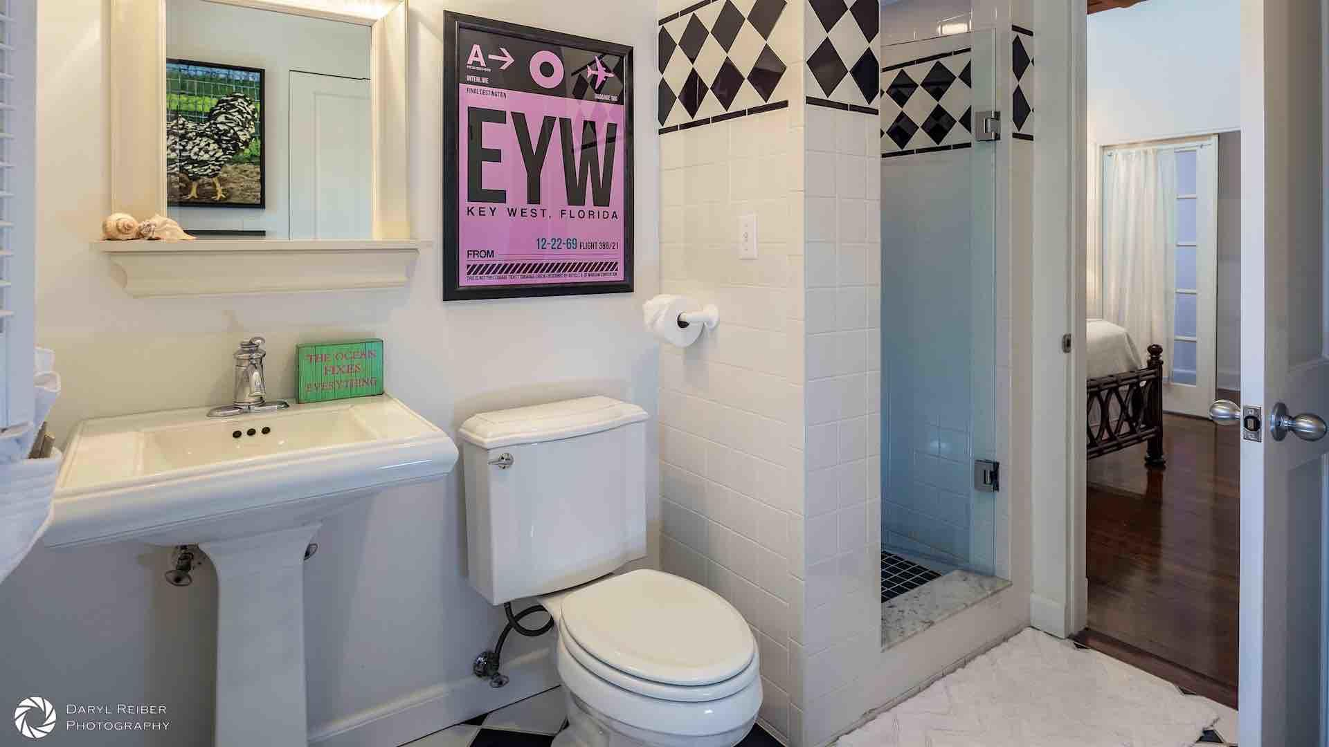 There is a bathroom located in between the second and third bedrooms...