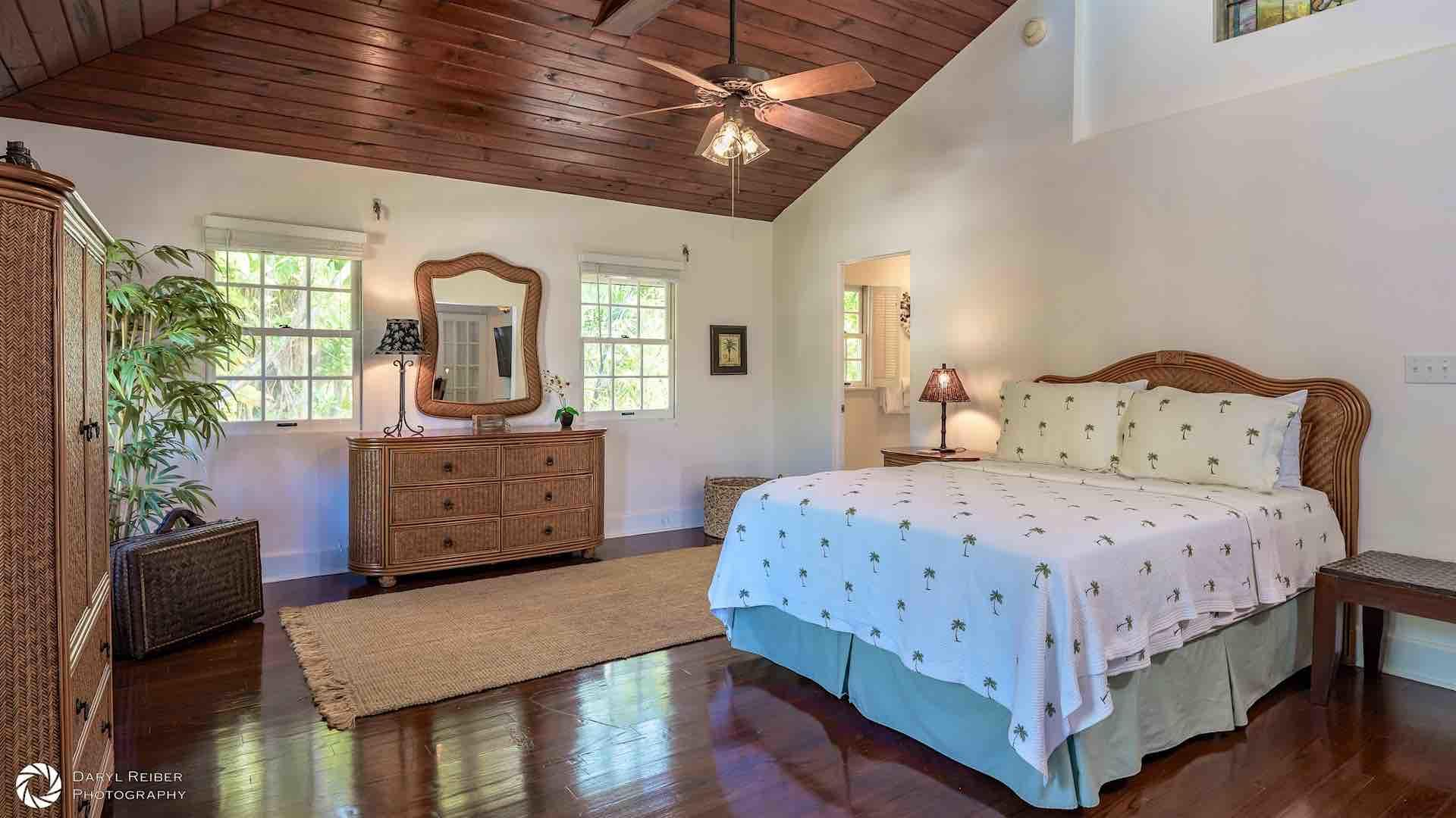 The third bedroom has a Queen bed and an overhead fan...