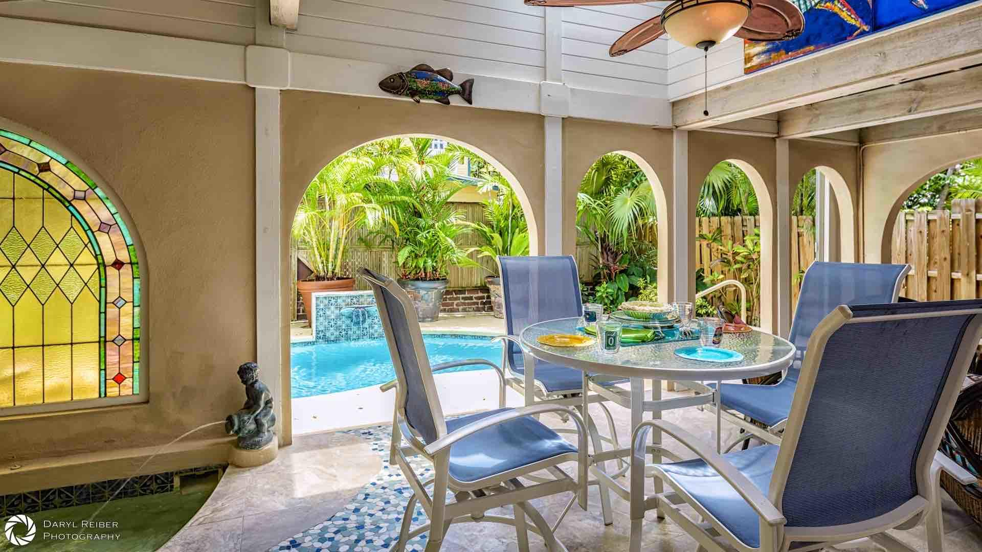 The covered lanai is the perfect hangout for the whole gang...
