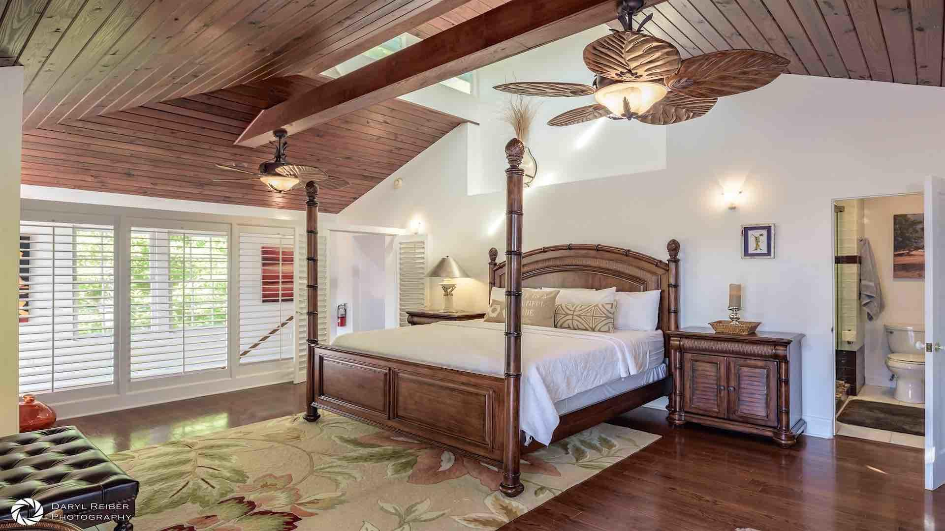 The master bedroom has a King bed...