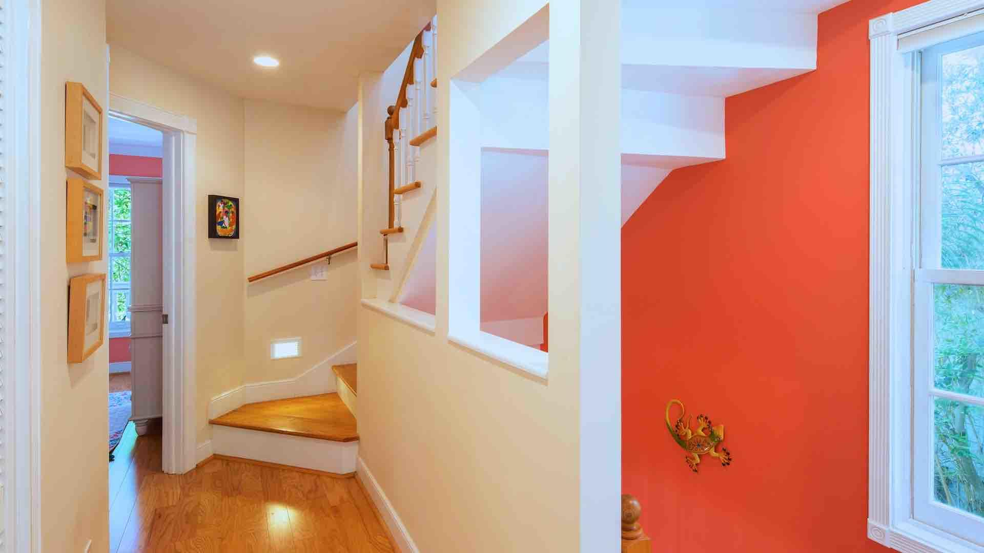 Climb the stairs to the second floor to find two of the three bedrooms...
