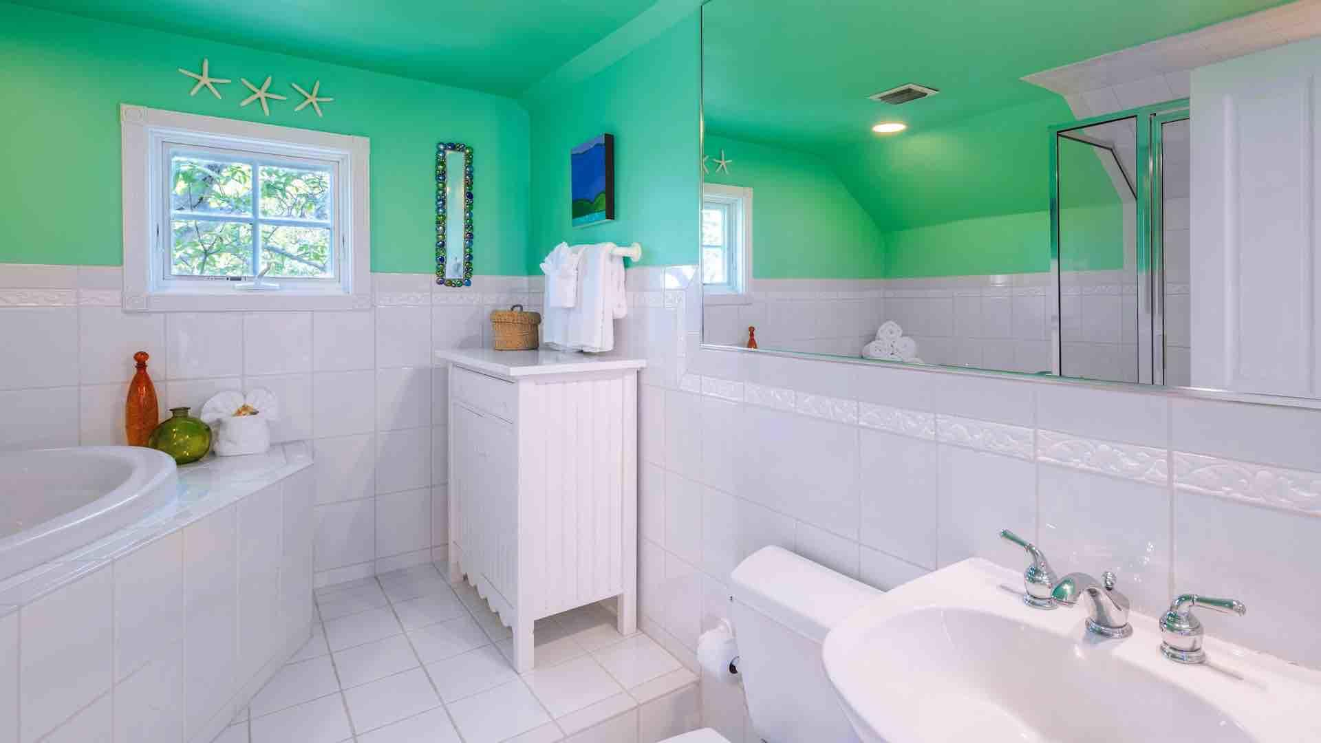 The spacious master bathroom has a shower and a bathtub...