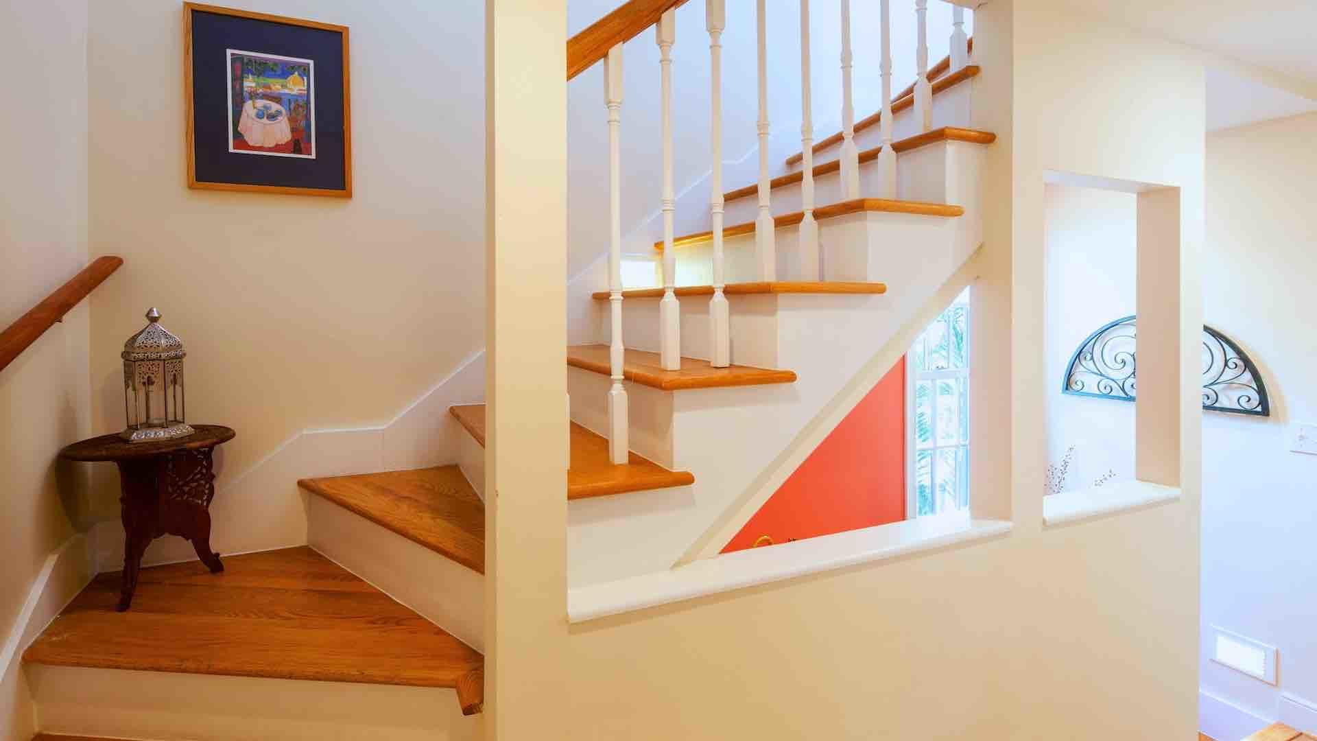 Take the stairs to the third floor, where you'll find the master suite...