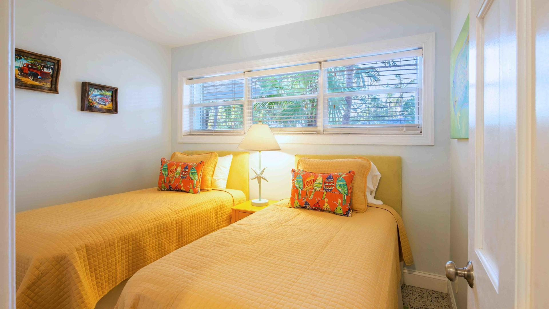 The third bedroom has two twin beds that can convert to a King bed...
