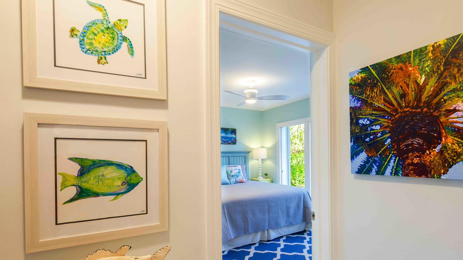 The home has been decorated in tropical colors and decor...