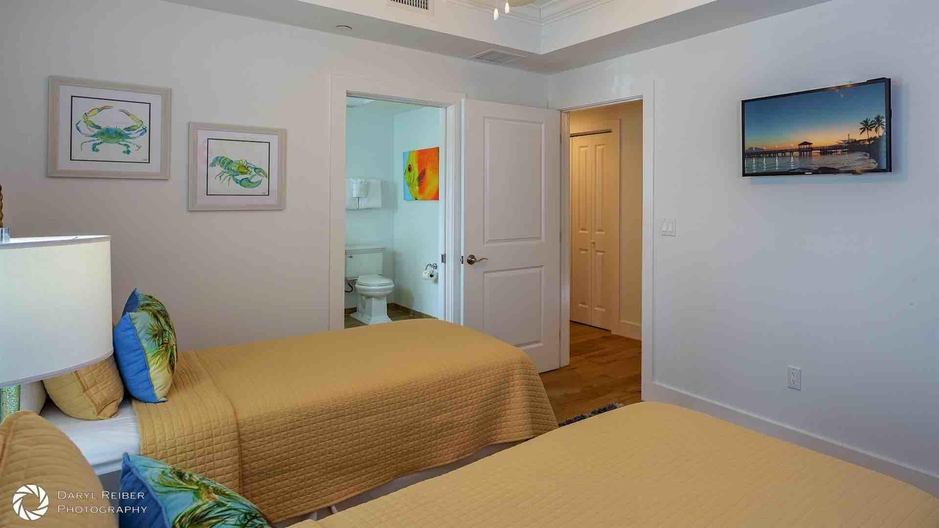 The third bedroom is located on the second floor and has two twin beds that can convert to a King bed upon request...