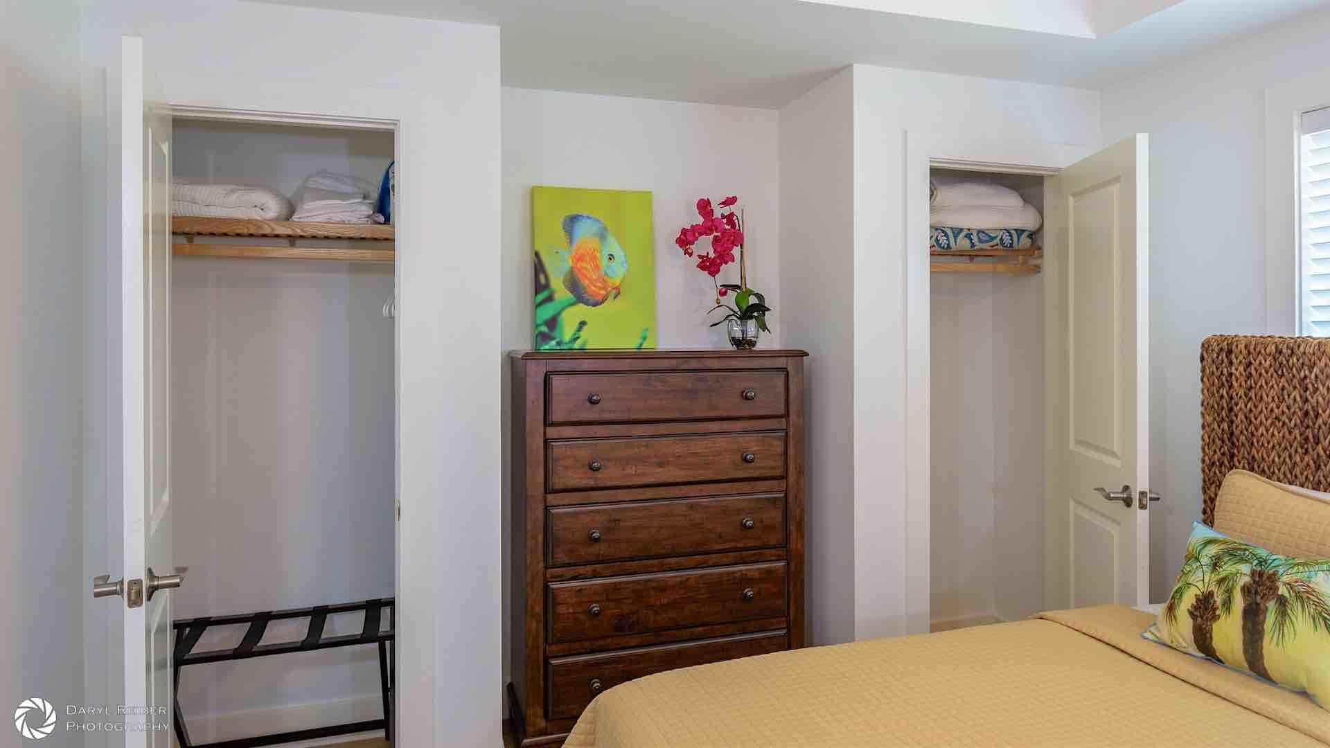 The third bedroom has two spacious closets and a flat screen TV...