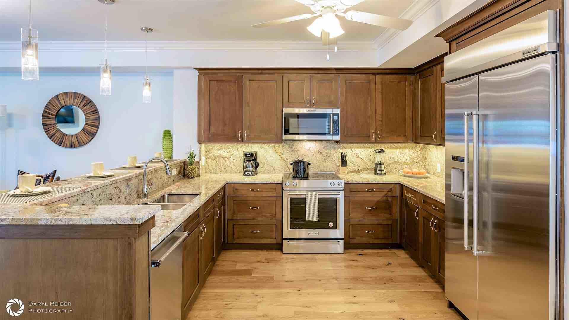Also located on the second floor is the fully equipped kitchen, with stainless steel appliances...