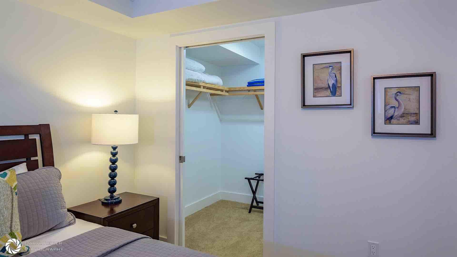 The second master suite also has a large walk-in closet and a flat screen TV...