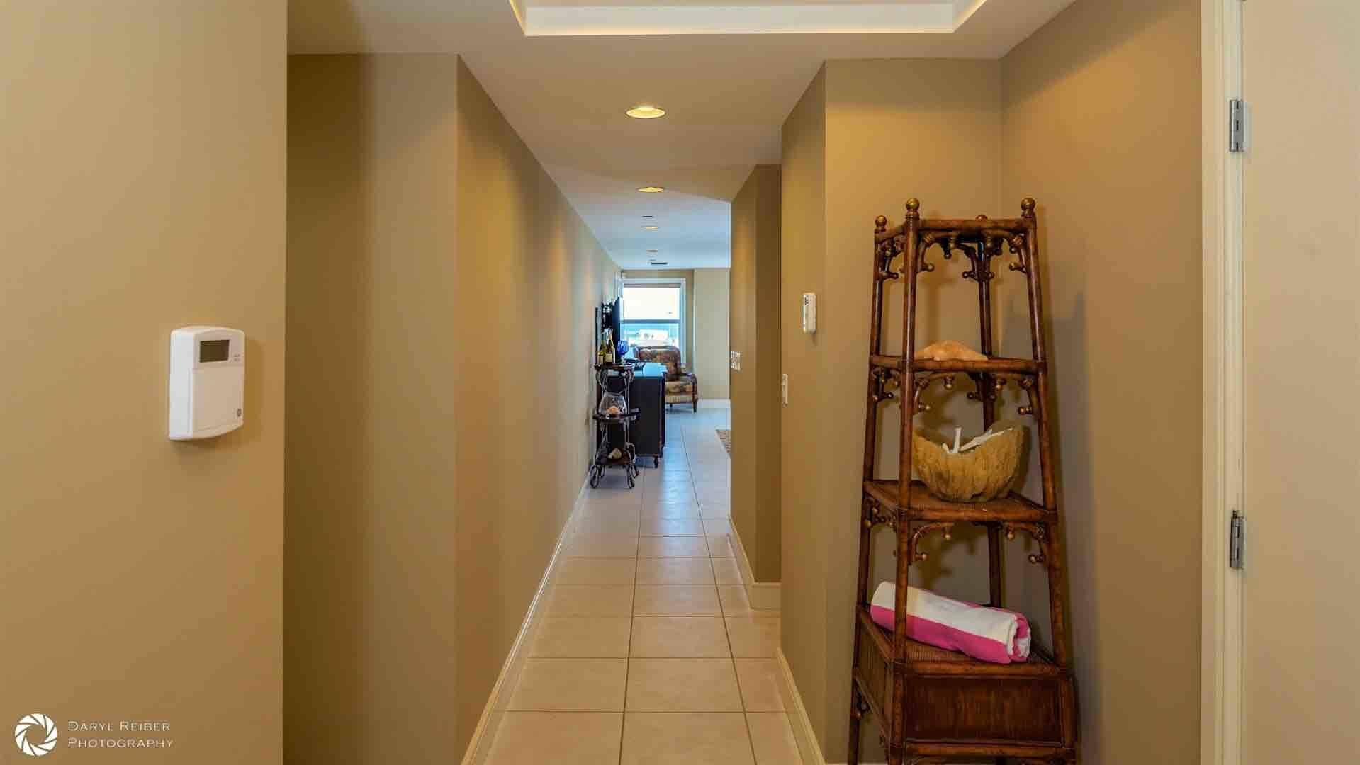 Both bedrooms are located down the hall, separate from the living area...