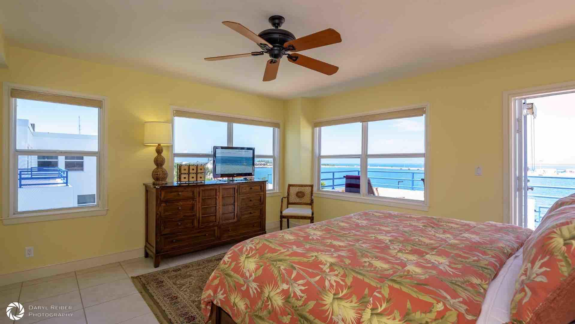 The master bedroom has a flat screen TV and gorgeous views of the Gulf...