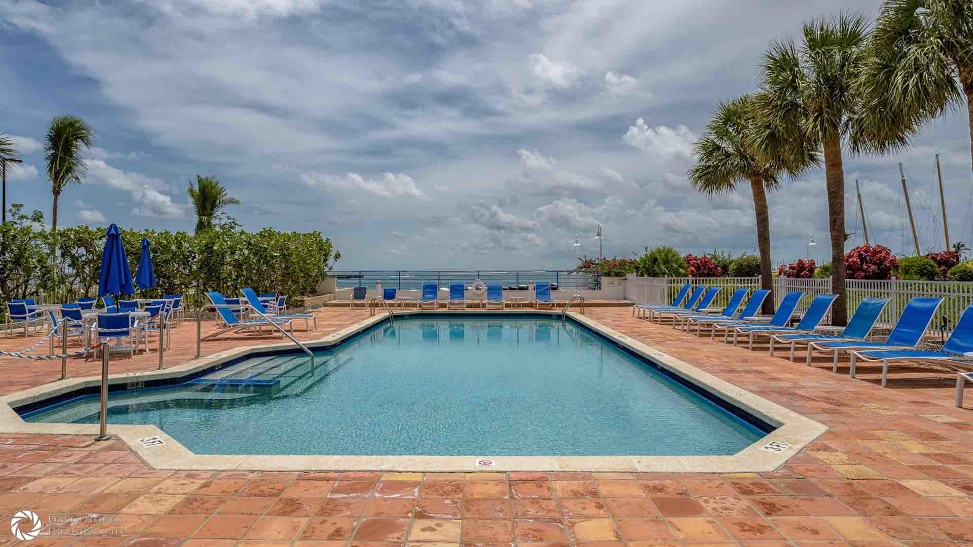 The pool has direct views of the Gulf...