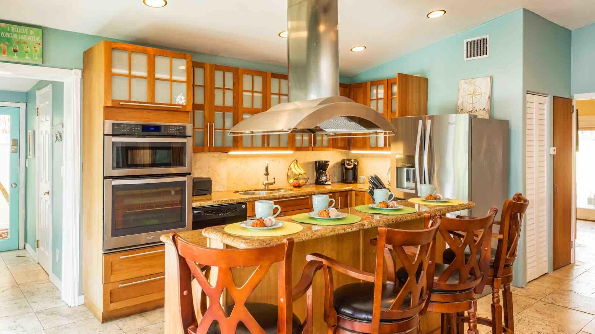 The kitchen is fully equipped with everything needed to prepare a meal...