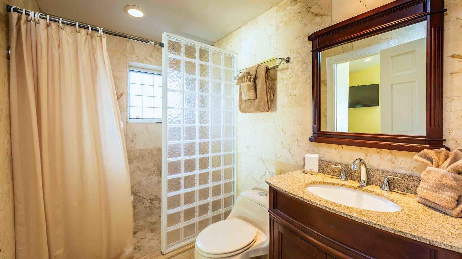 The first master bathroom has a large walk-in shower...