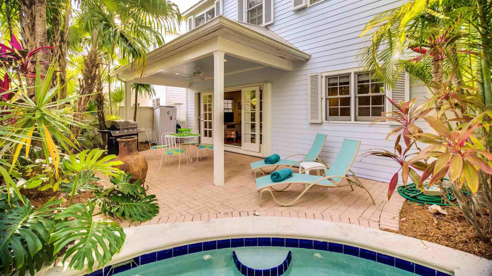 The home has a private pool and backyard area...