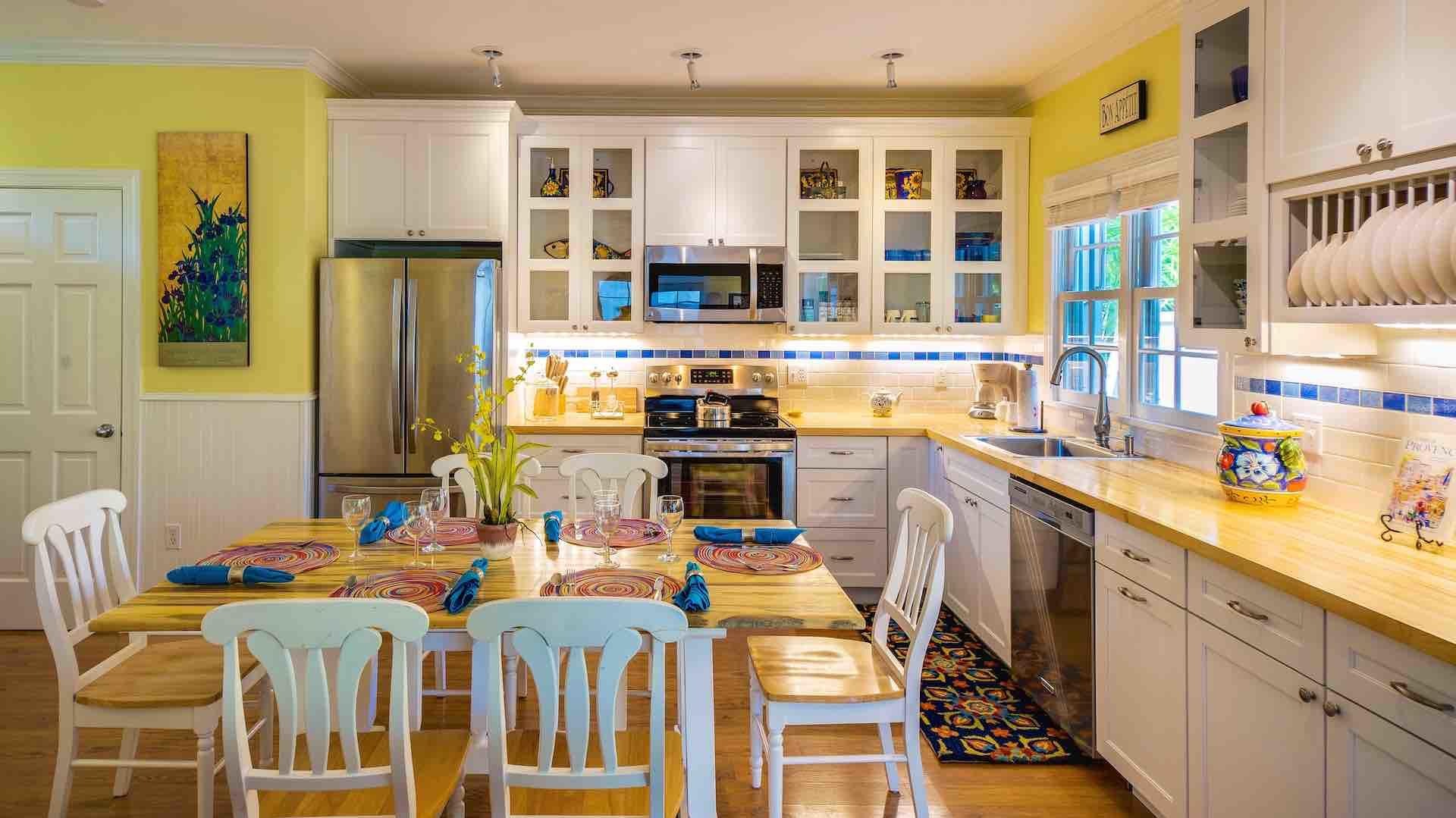 The kitchen features top-of-the-line appliances & everything a good chef demands...