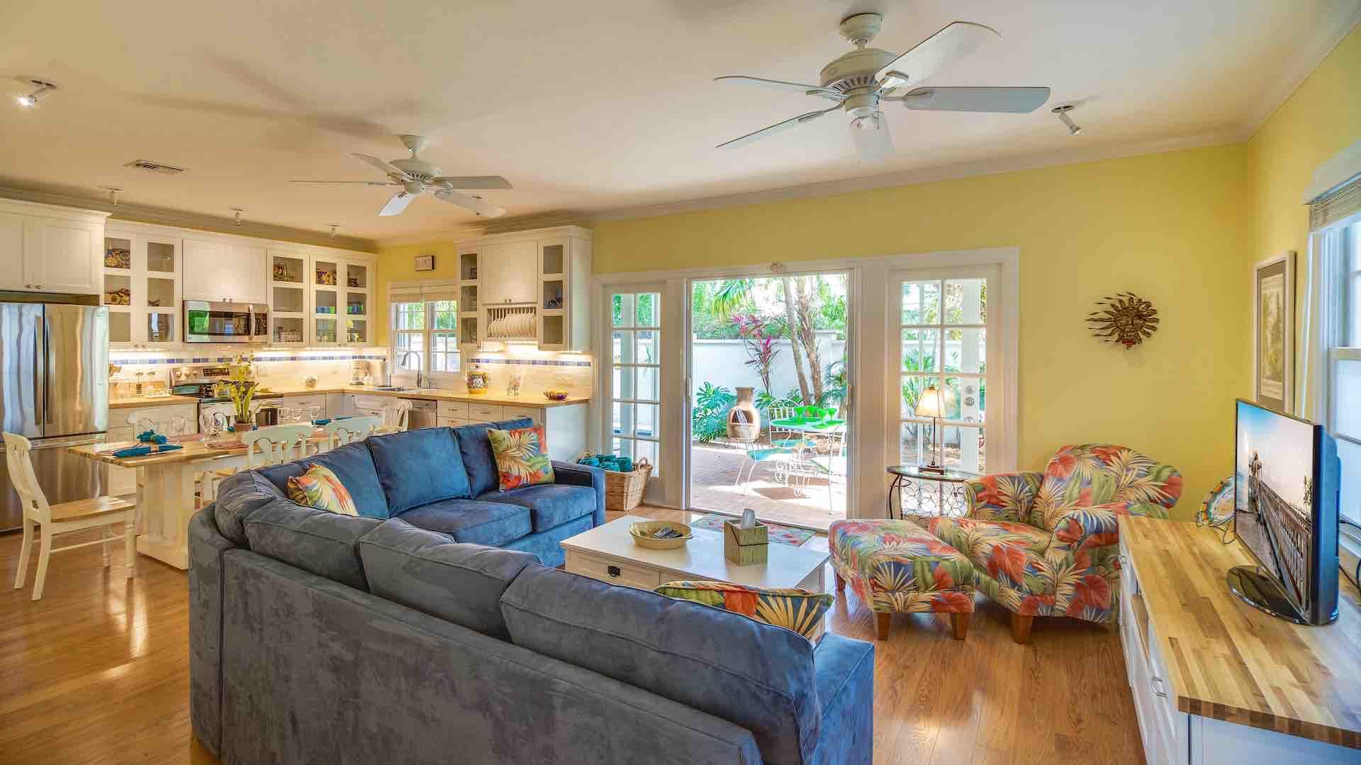 La Provence Tropicale has an open living area with French doors...