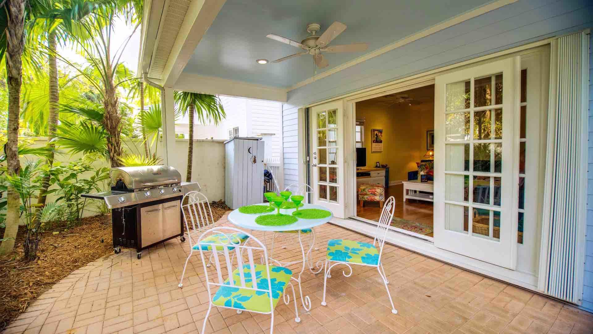 The back porch is perfect for outdoor dining...