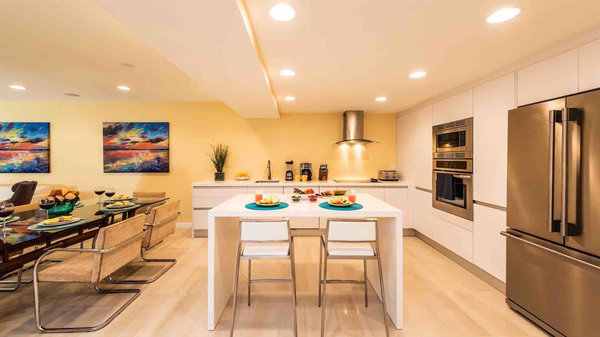 The fully equipped kitchen has everything you'll need to cook at home...