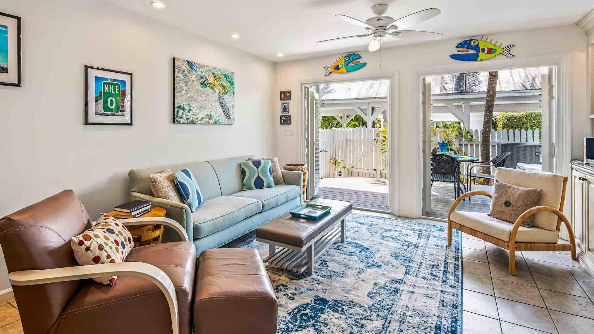 Enjoy some TV time from the multiple comfortable seating options 2 bedroom Key West townhome