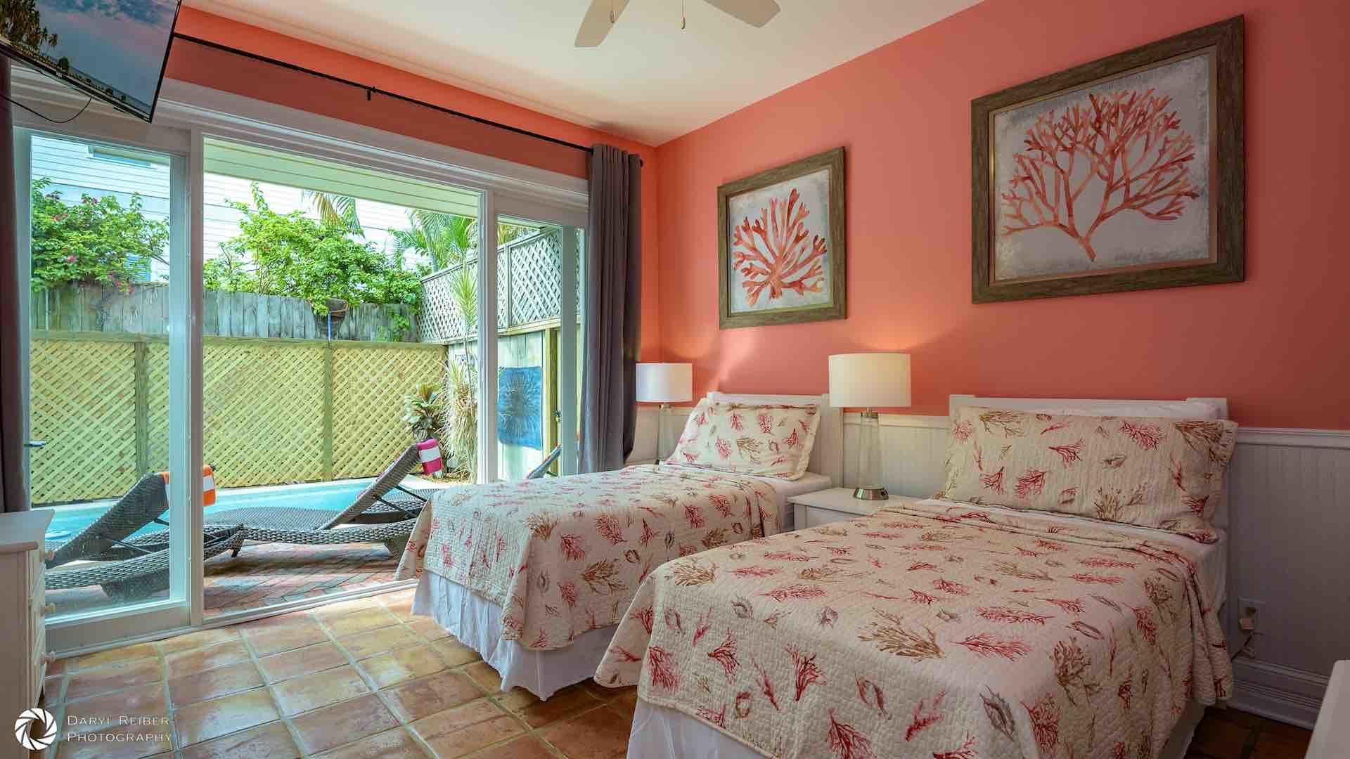 The first floor bedroom is the 'Coral Suite'...