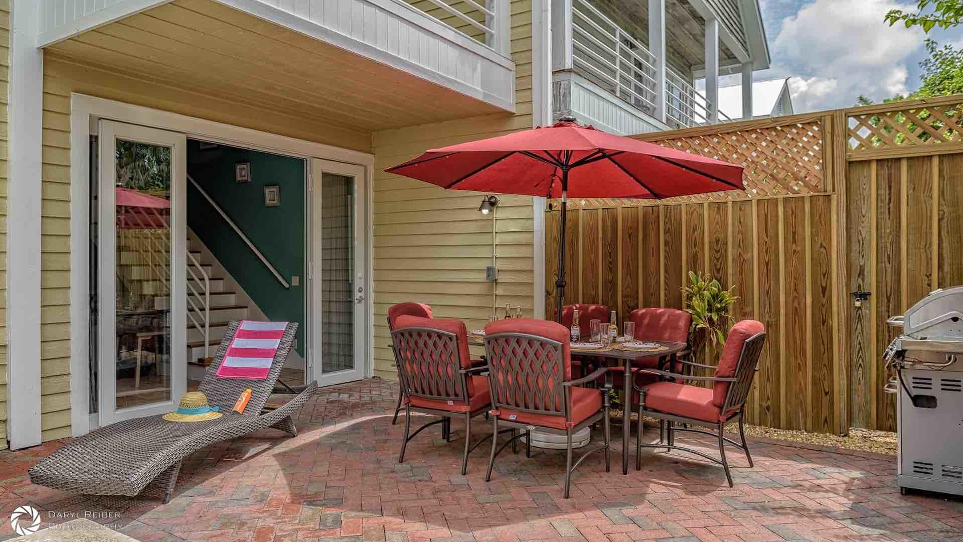 The outdoor dining set for six and the grill are a recipe for a poolside BBQ...