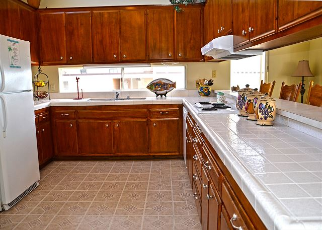 Spacious and stocked kitchen for all of your needs during your stay.