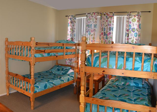 Bedroom #3 with 2 sets of twin sized bunk beds.