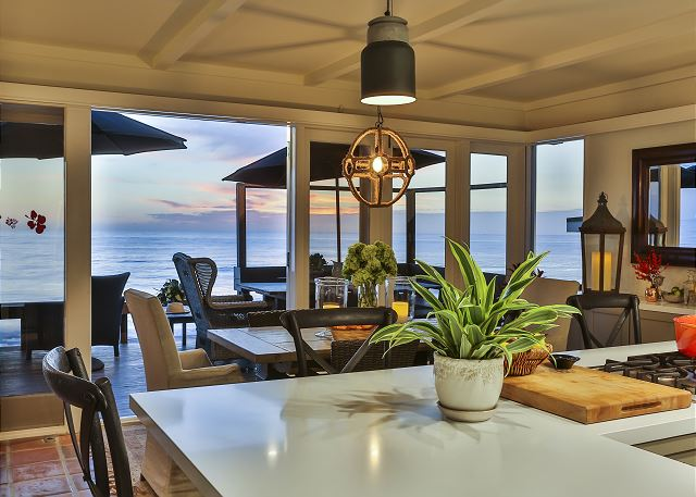 Enjoy ocean views while cooking in this kitchen with updated appliances.