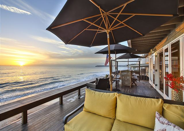 Enjoy Dana Point's beautiful sunsets from this beach front porch.