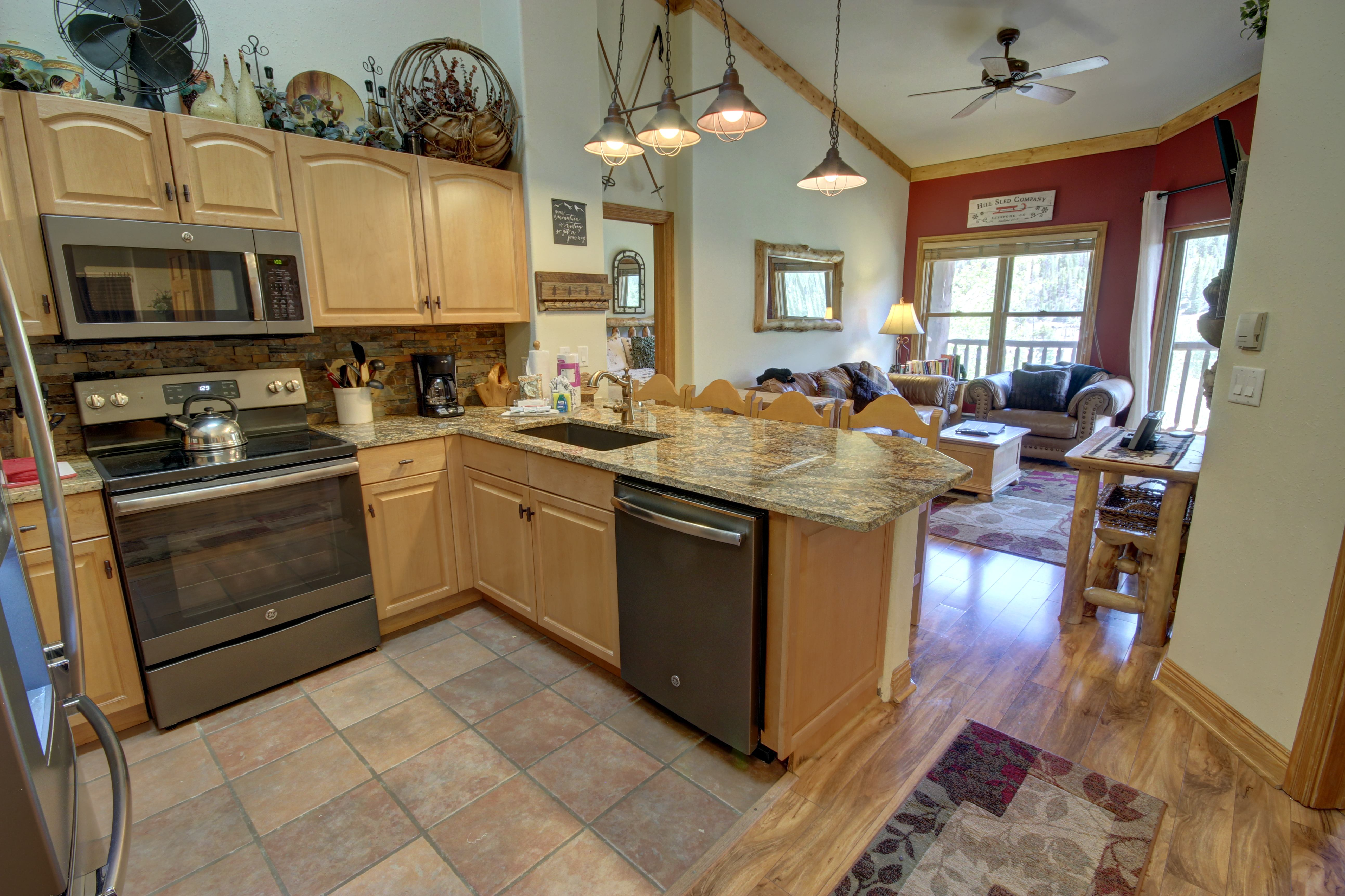 Kitchen with stainless appliances and lots of counter space