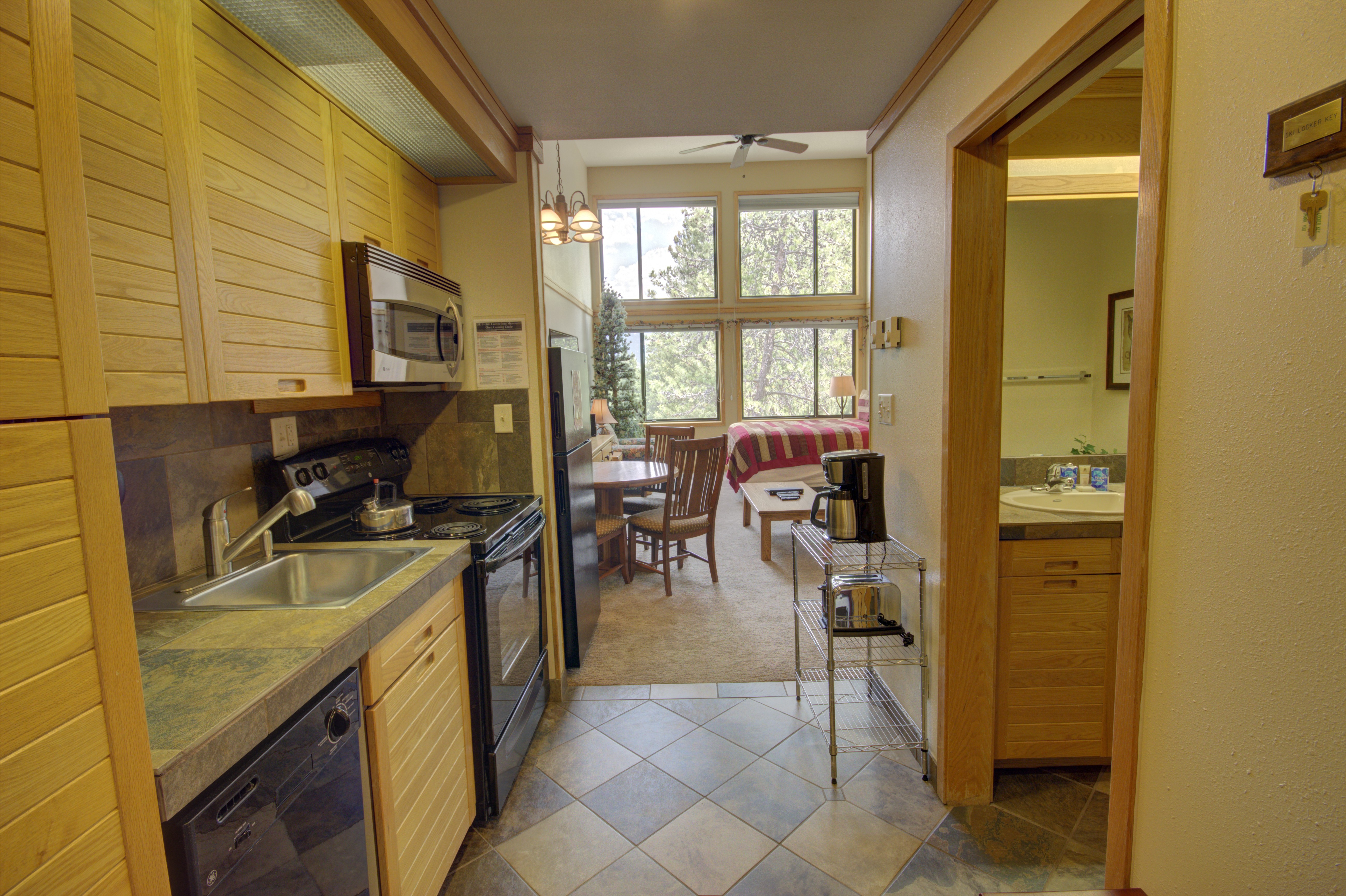 Kitchen area with coffee maker perfect for those early mornings