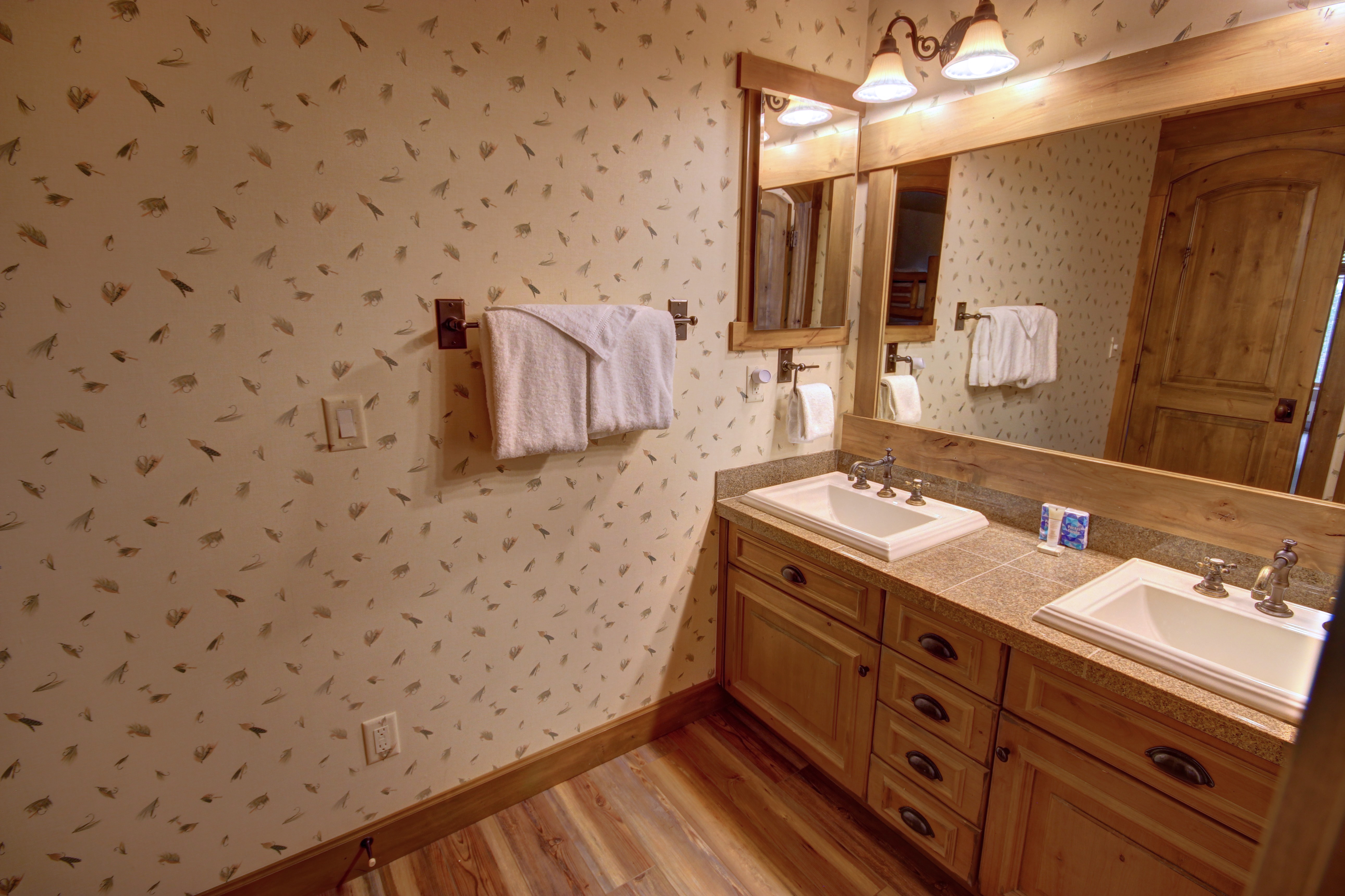 Bathroom with gorgeous wooden tiles