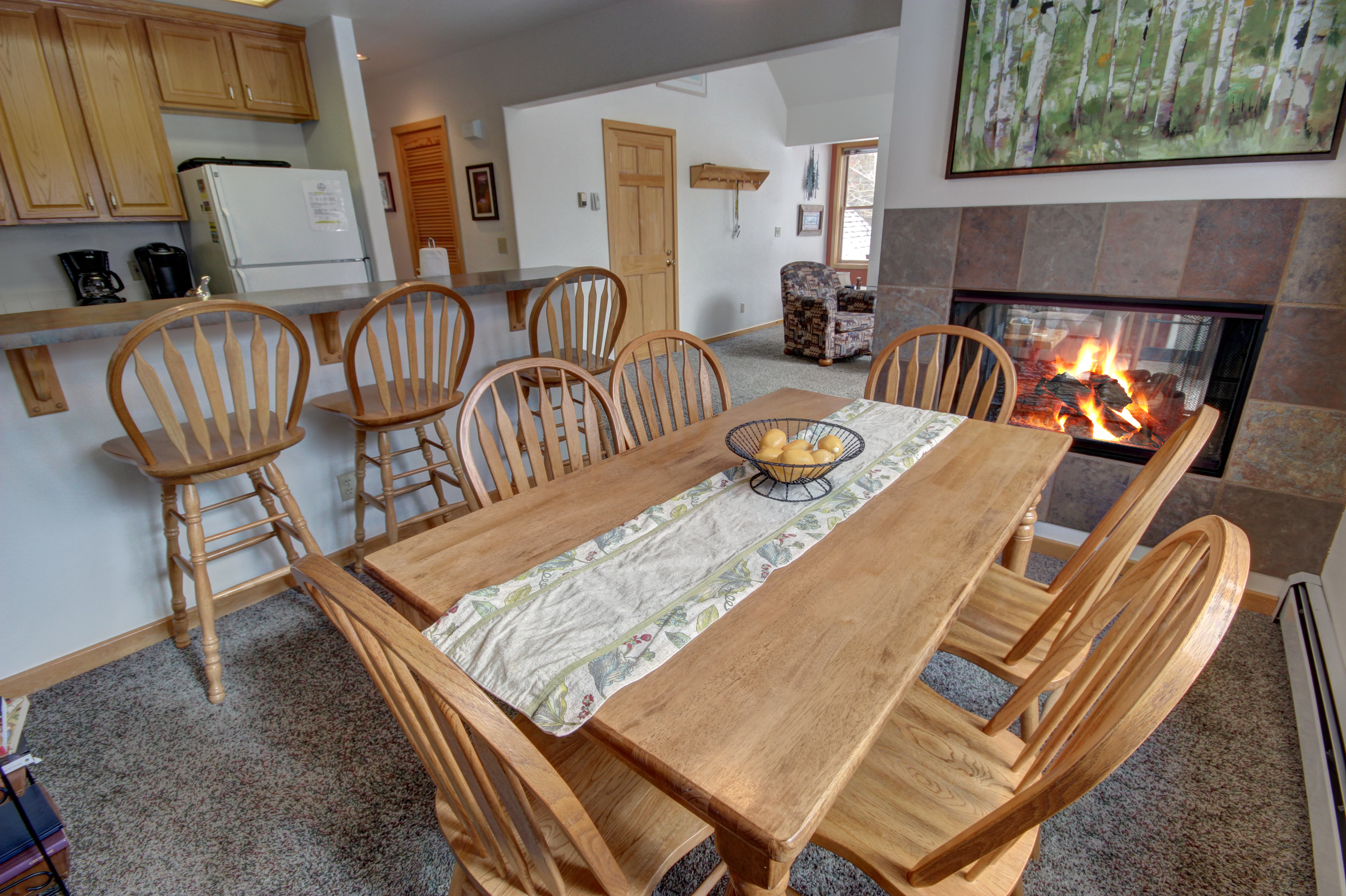 Dining area with 2 way fireplace
