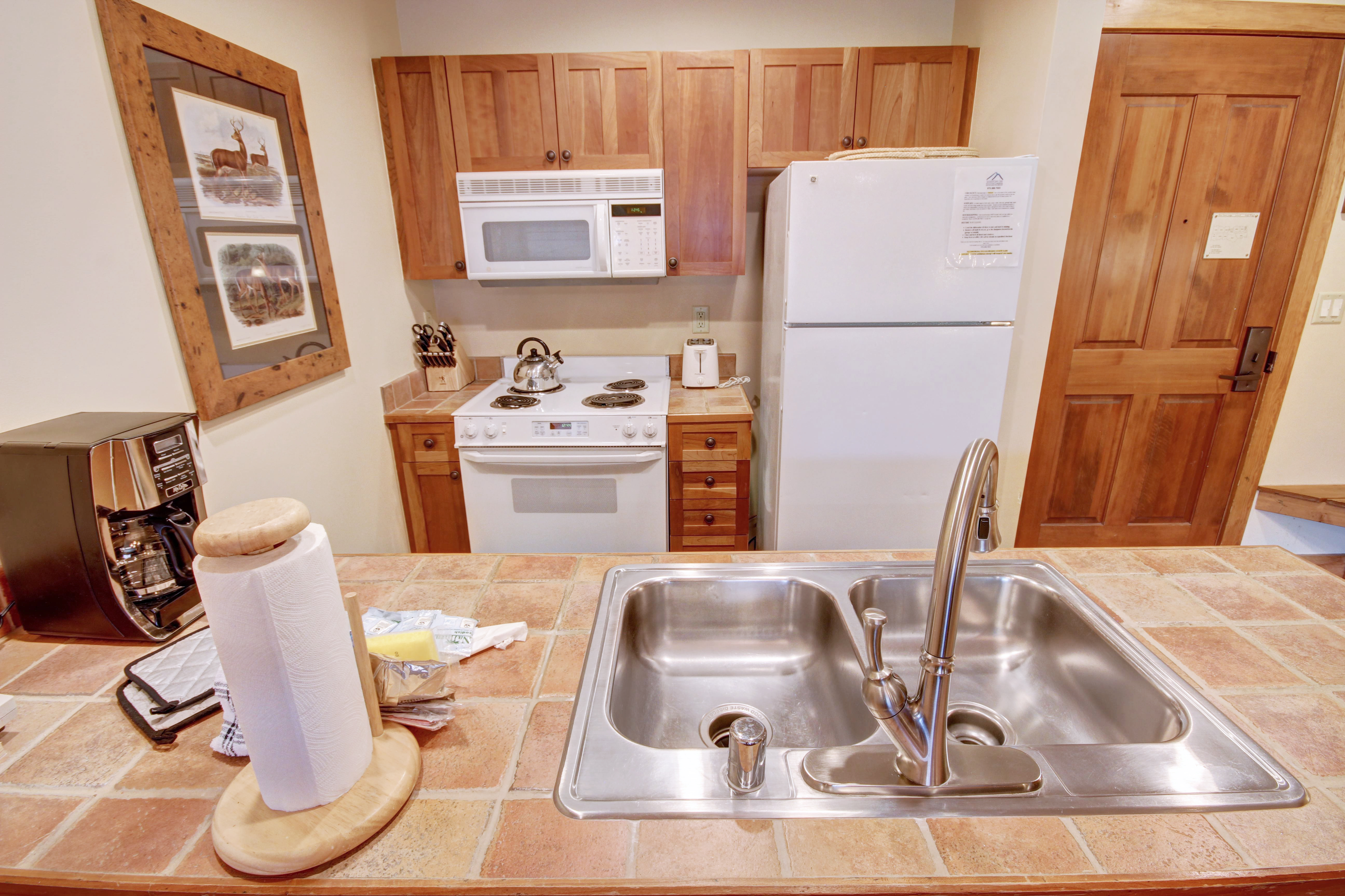 Kitchen with a stainless sinks