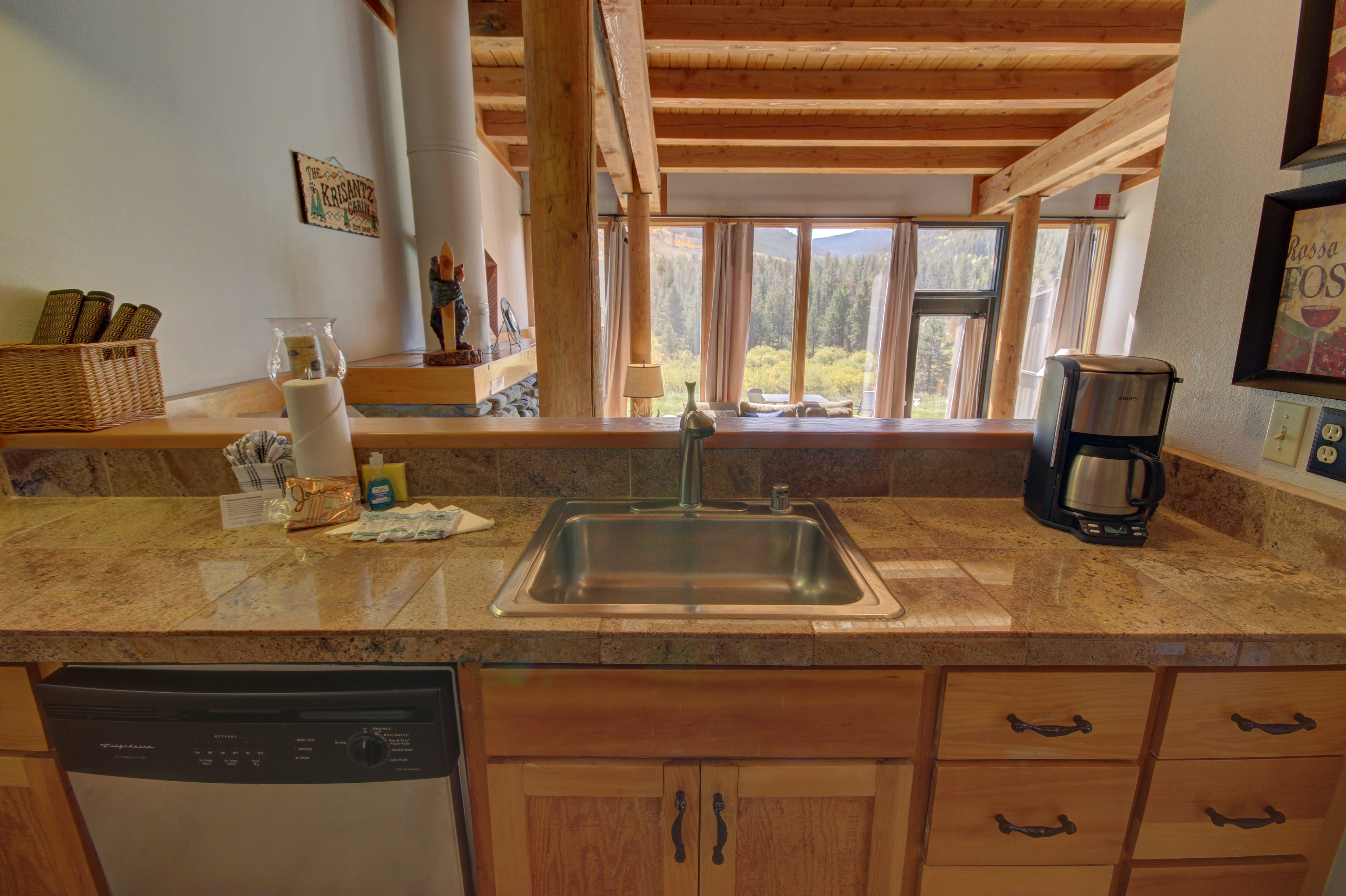 Kitchen with stainless granite counter tops