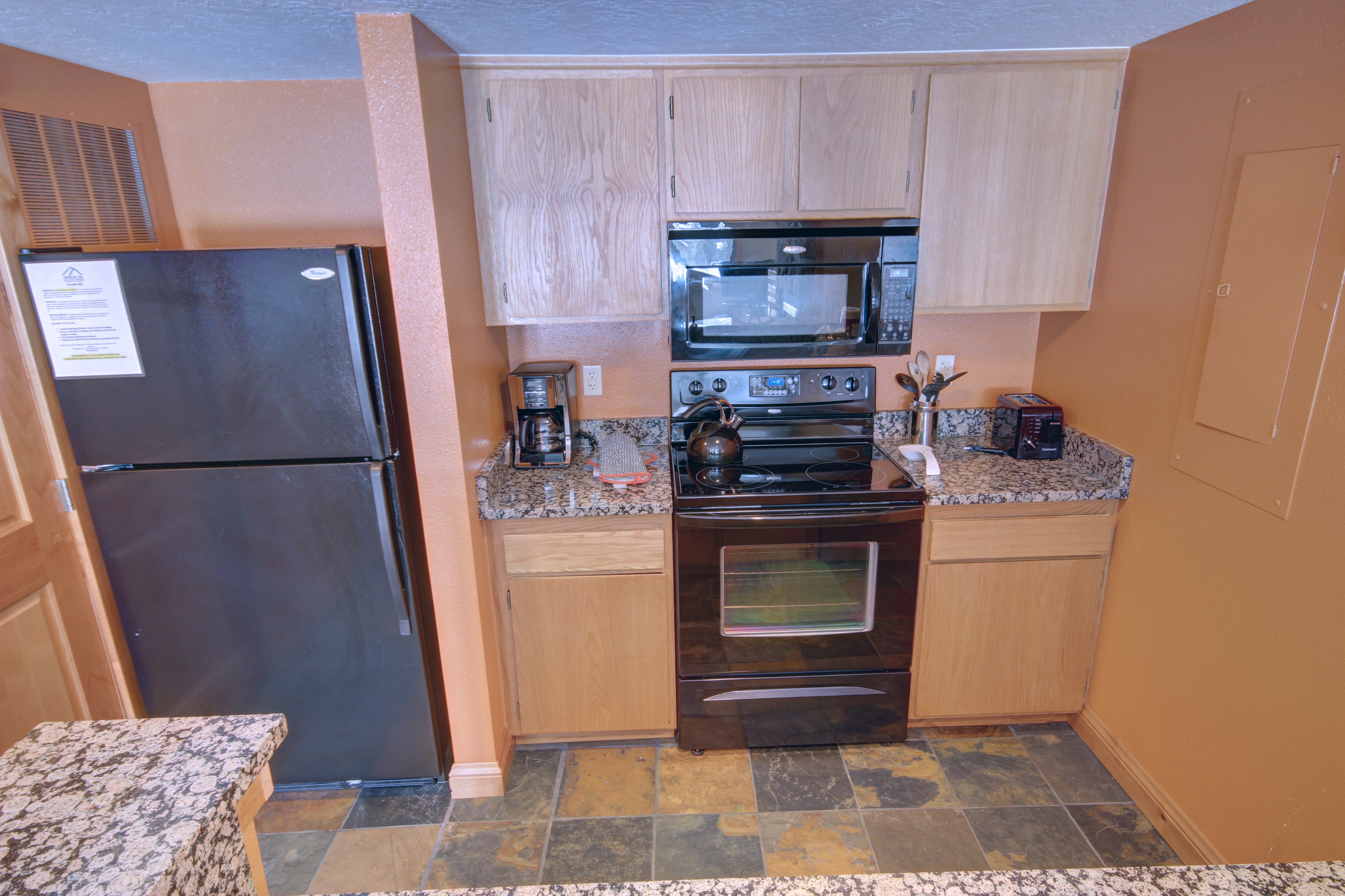 Kitchen with coffee maker perfect for the early mornings