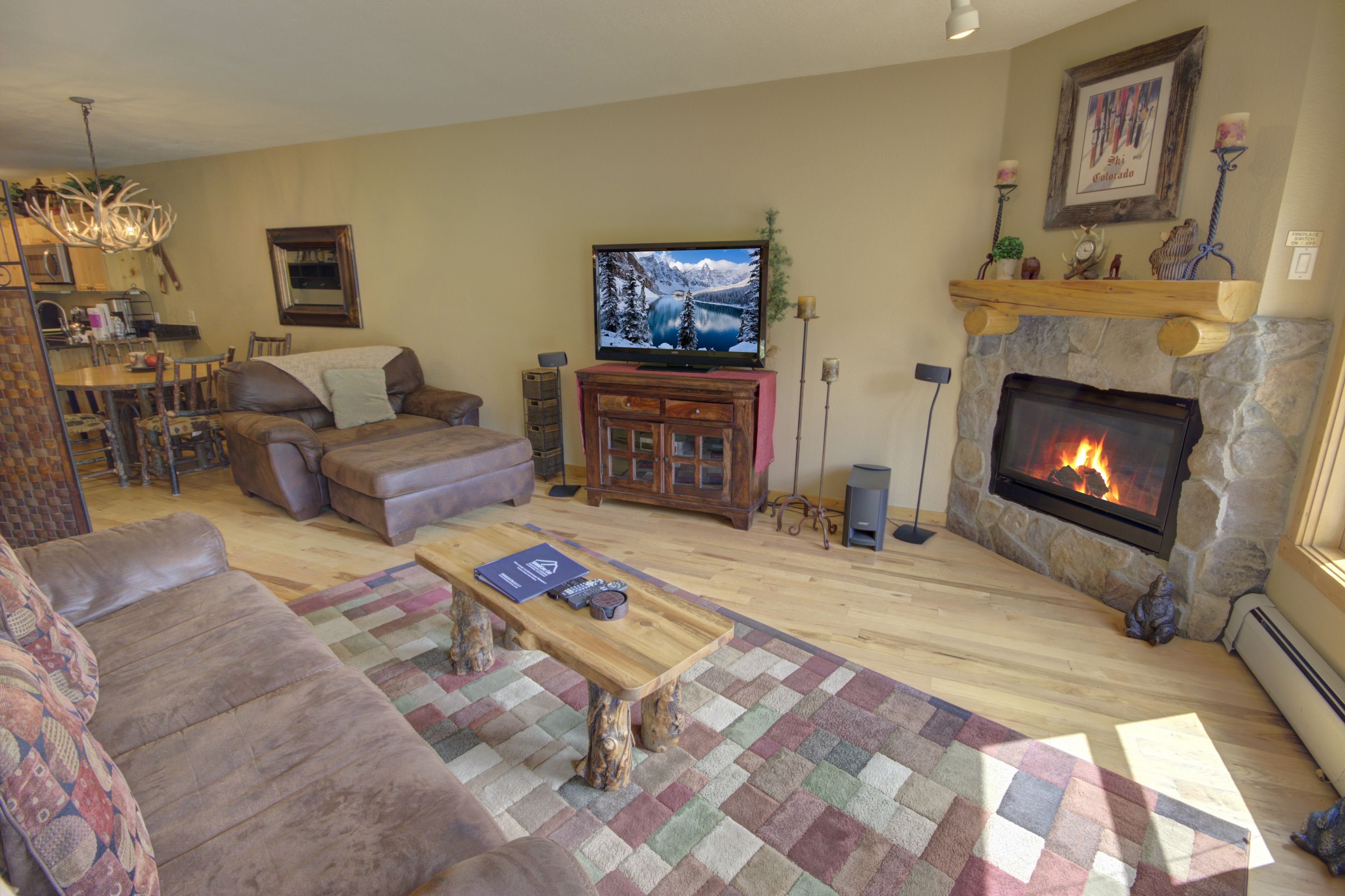 Living room with relaxing flat screen TV
