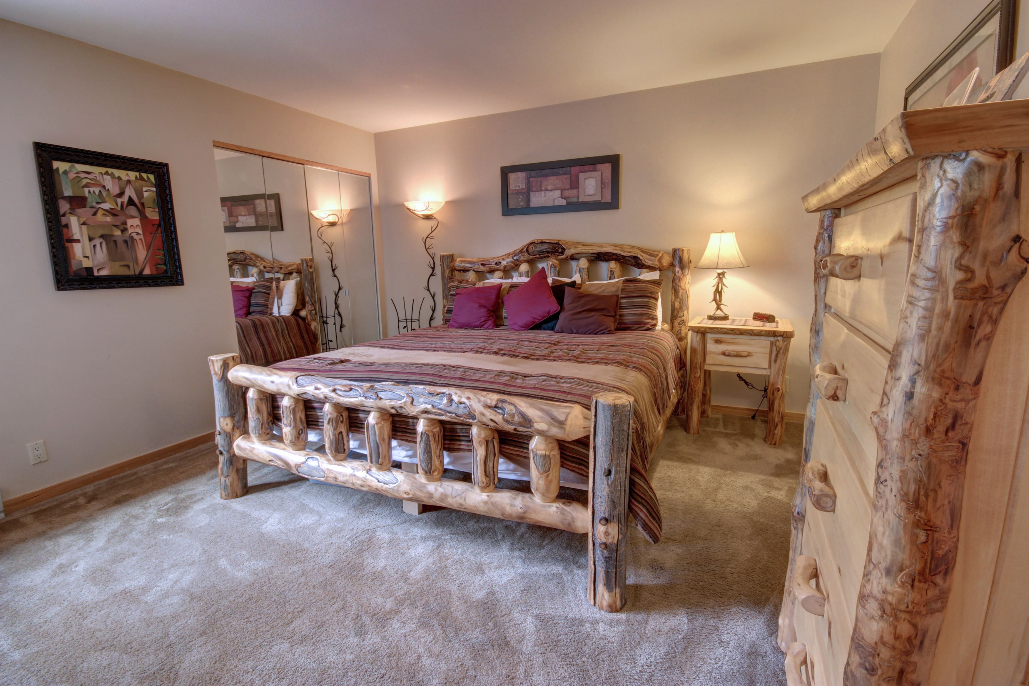 Bedroom with beautiful log bed