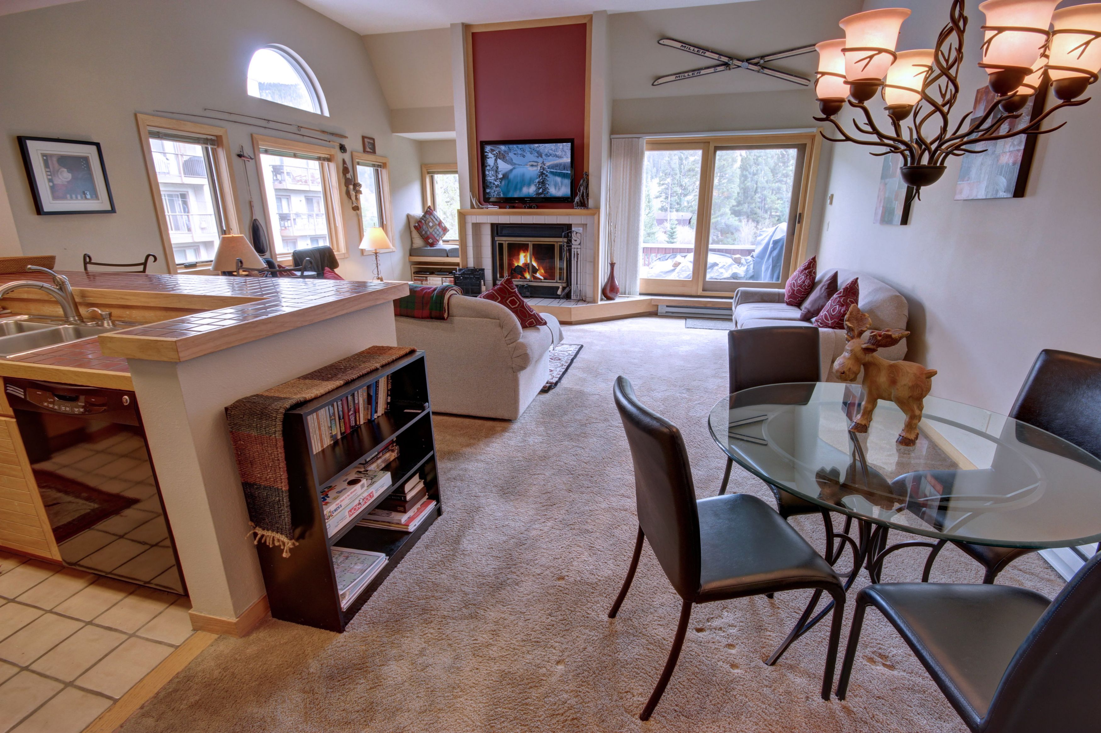 Kitchen, dining area and living room