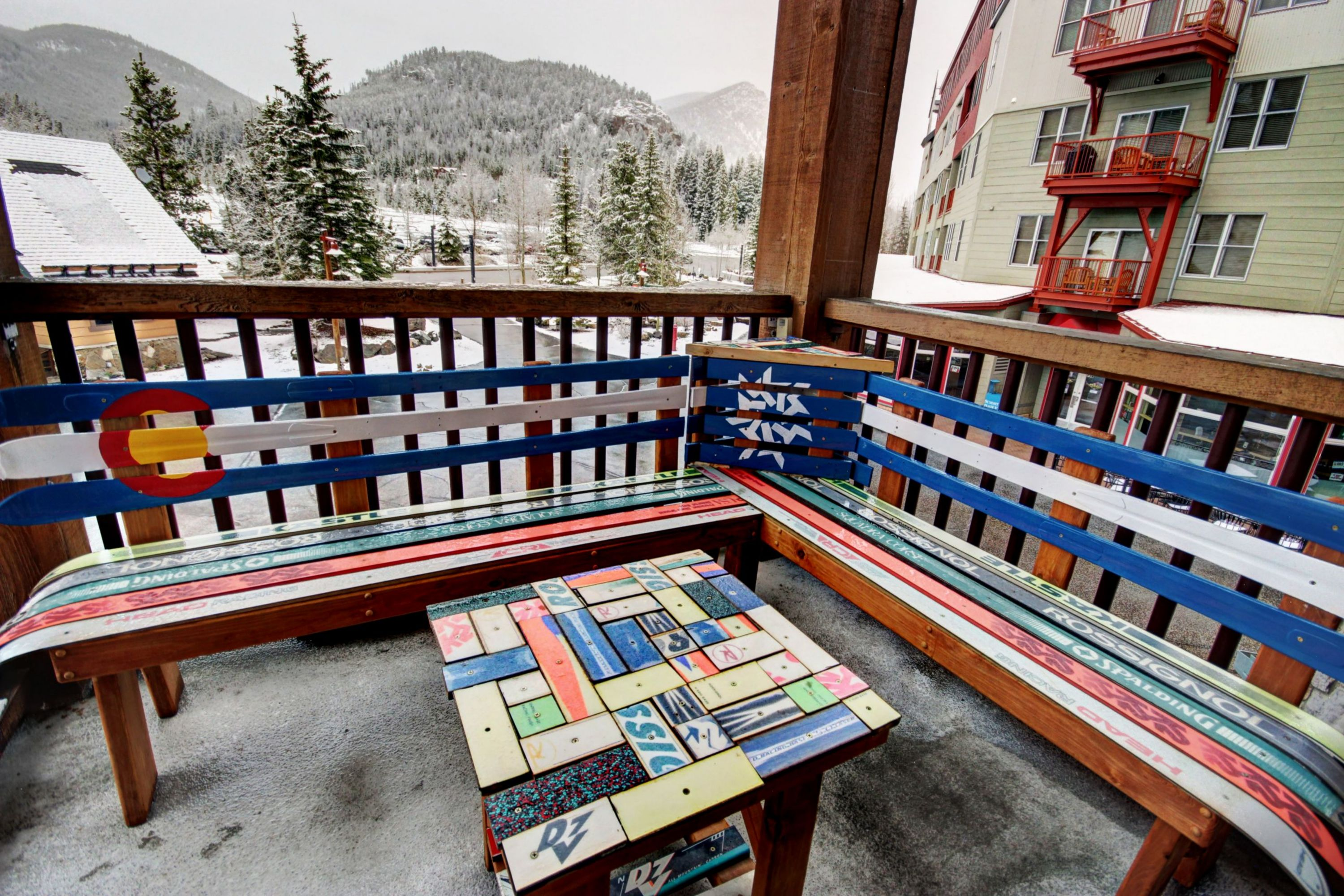 Sitting area made out of colorful skis