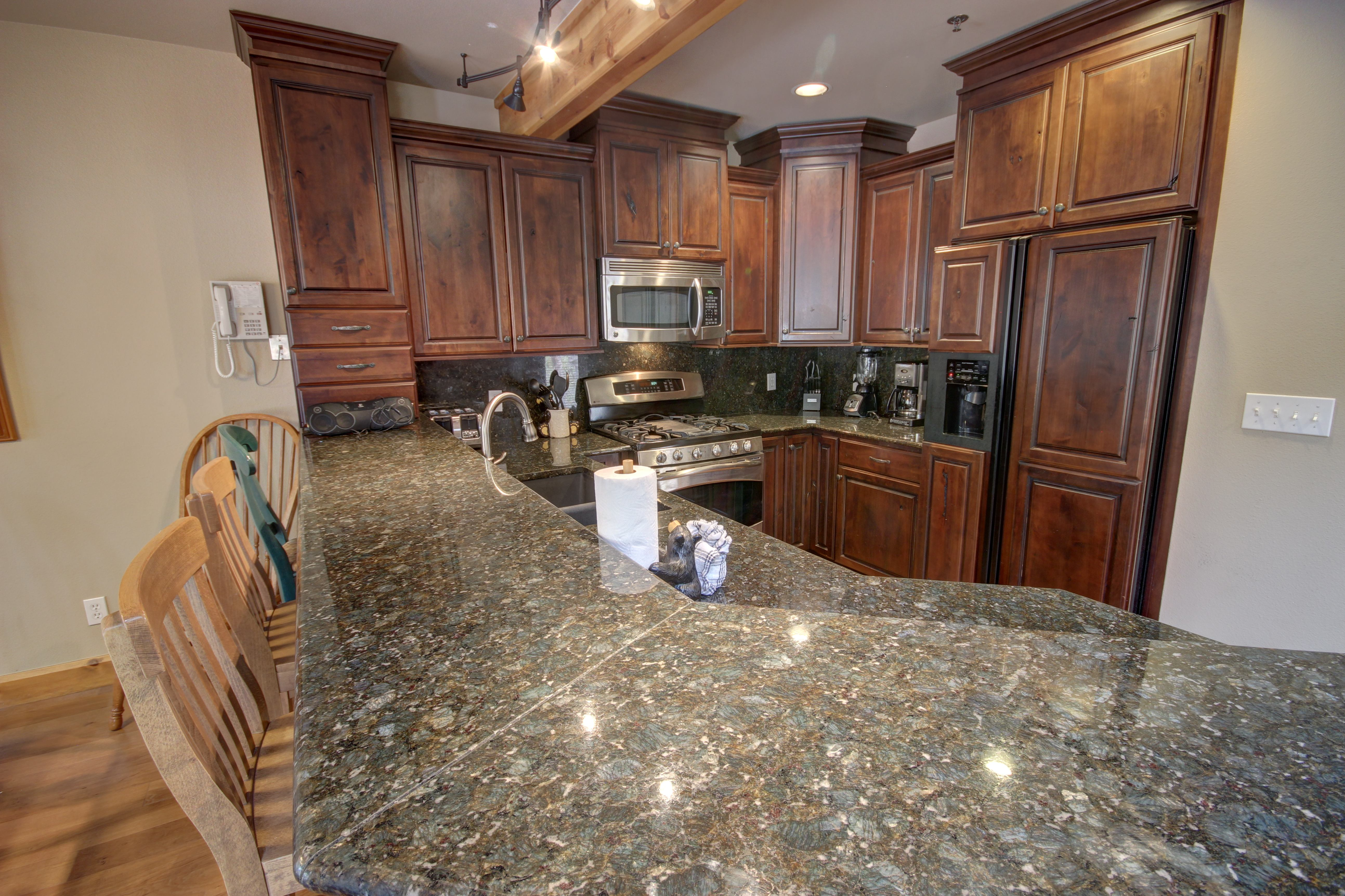 Kitchen with beautiful stainless granite countertops
