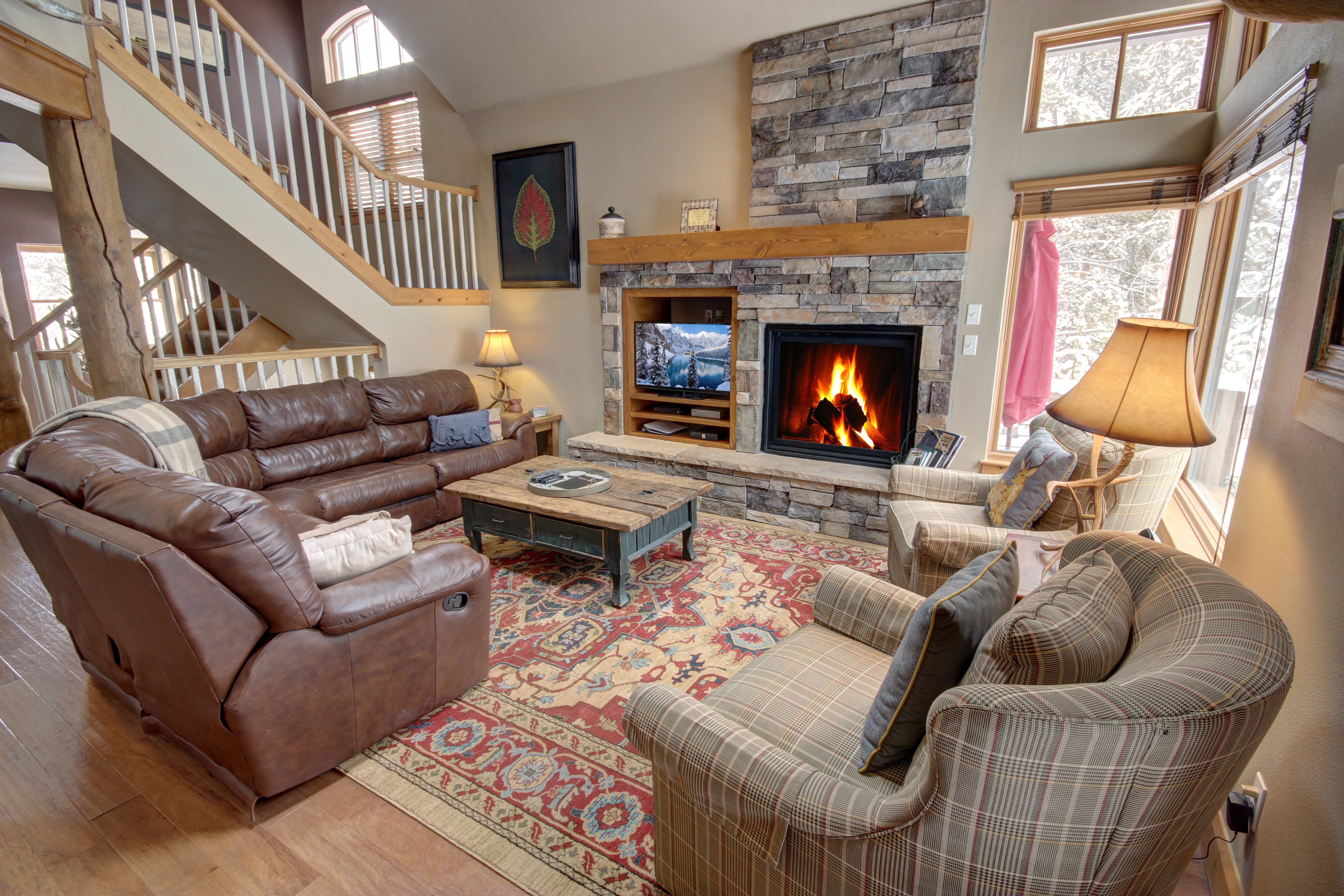 Living room with warm and cozy fire
