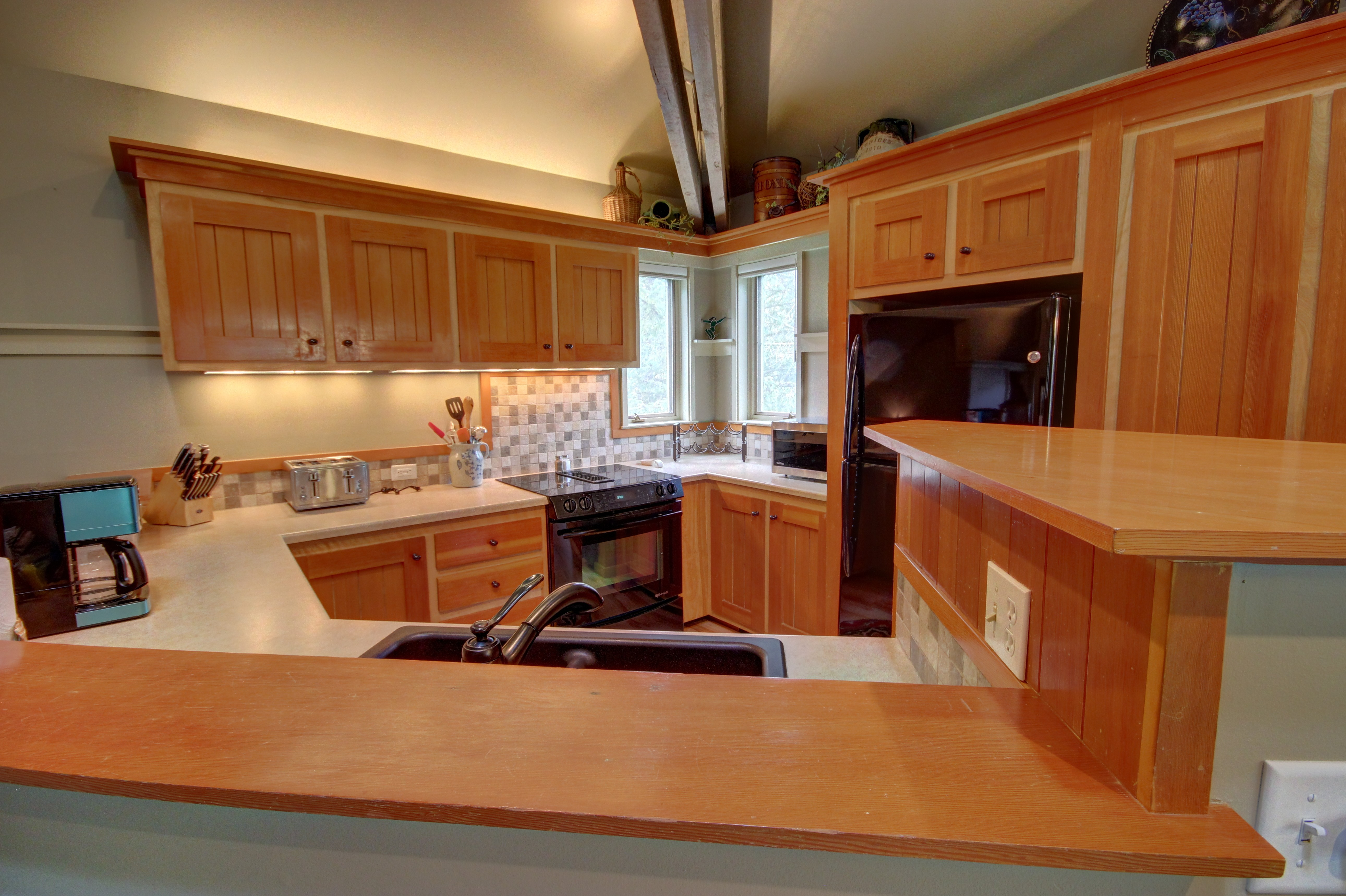 Kitchen with room to cook and places to put appliances