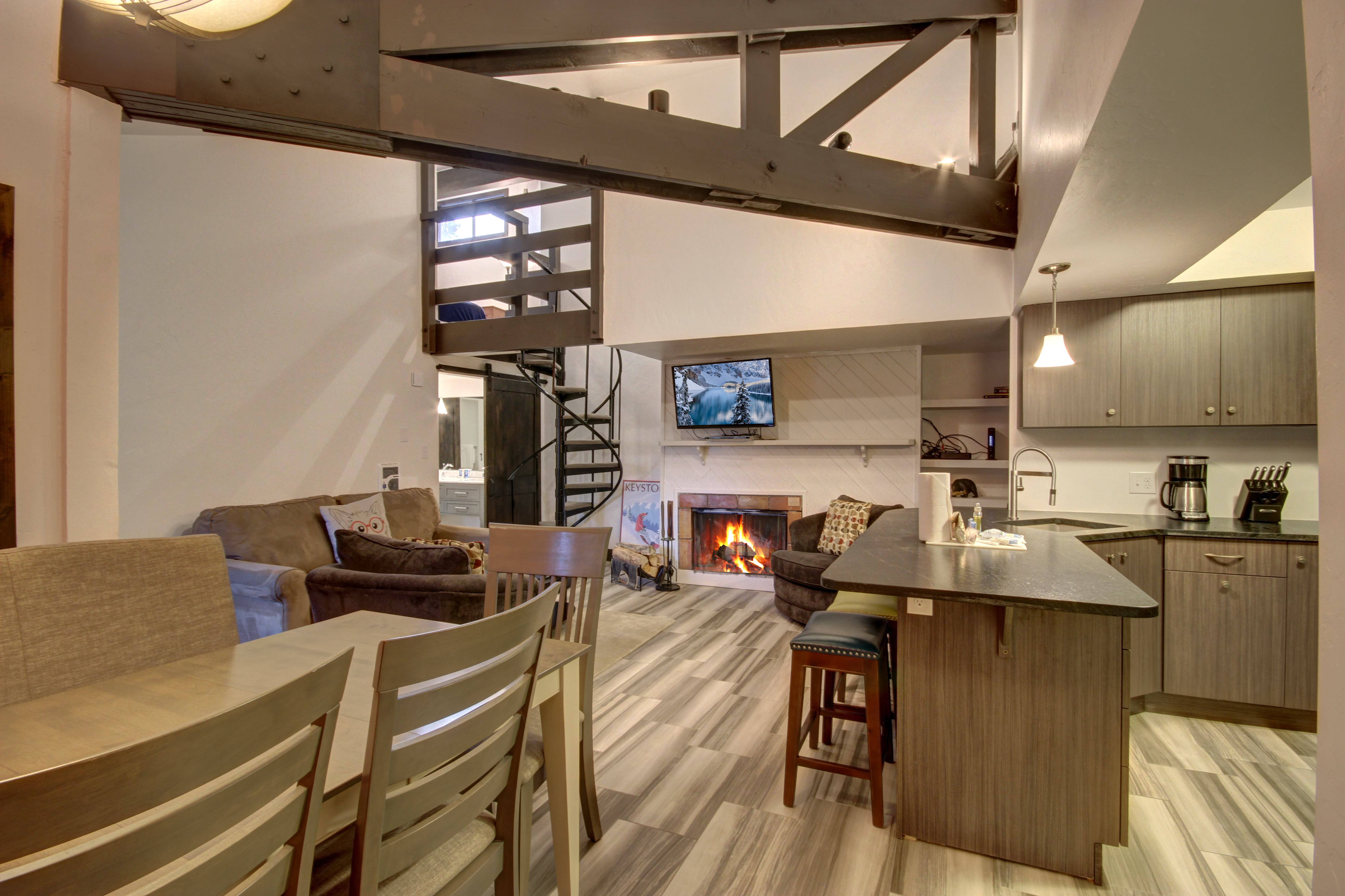 Dining area with beautiful wooden table