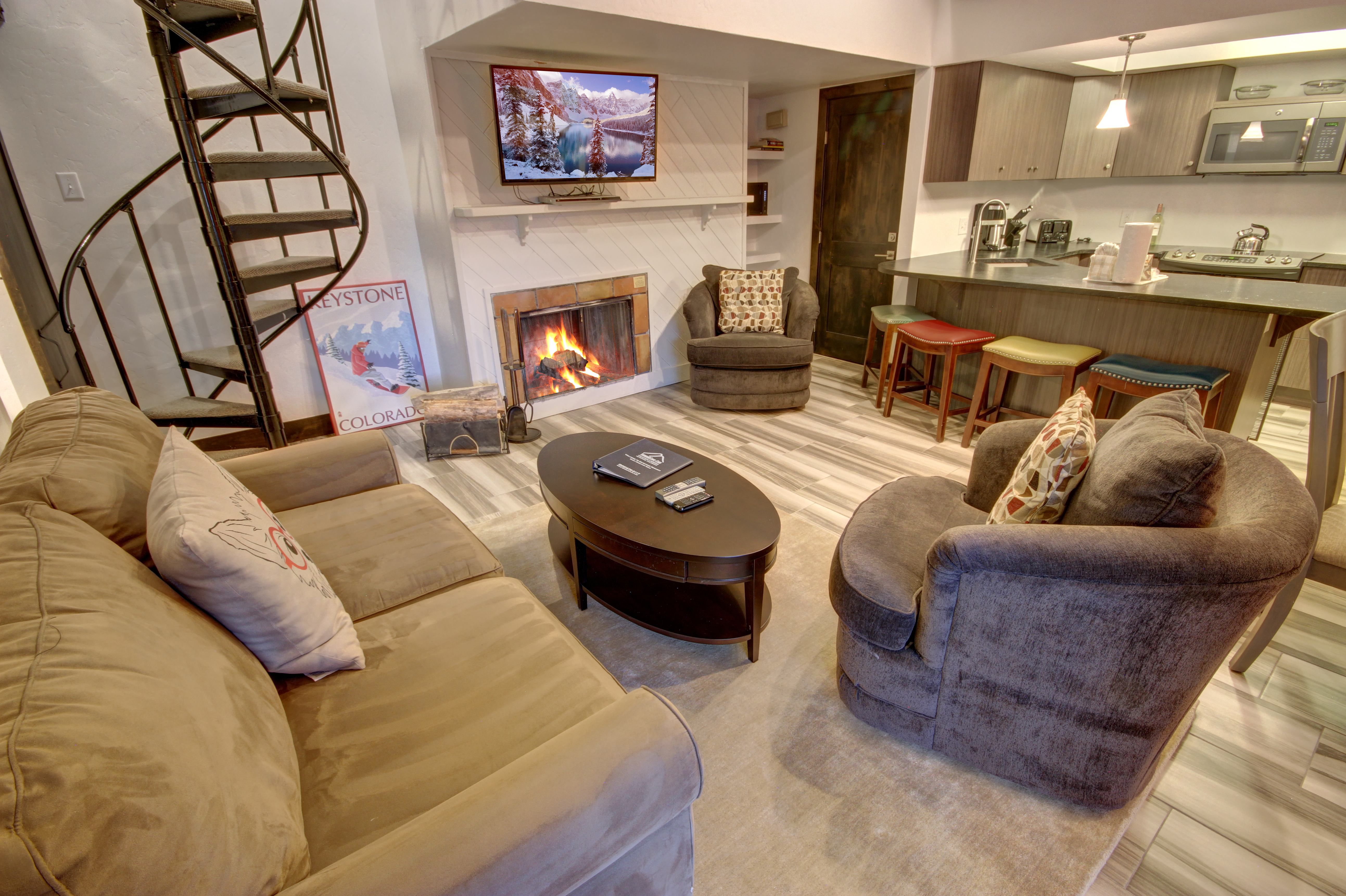 Living space with comfortable couches